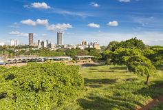 Uhuru Park in Nairobi, Kenya. With the skyline in the background royalty free stock images