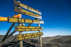 Uhuru Peak, Mount Kilimanjaro, Tanzania Stock Photos
