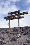 Uhuru peak, at the top of mount Kilimanjaro Royalty Free Stock Images