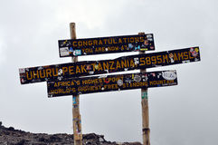 Uhuru peak, at the top of mount Kilimanjaro Royalty Free Stock Image