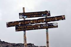 Uhuru peak, at the top of mount Kilimanjaro royalty free stock image