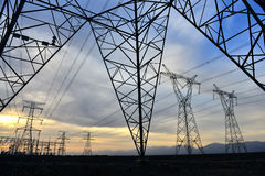 UHV transmission tower. Bluesky white could royalty free stock photography