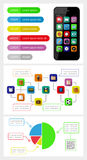Ui、infographics和网元素包括平的d 图库摄影