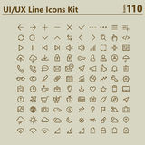 UI和UX大大胆的线象成套工具 免版税图库摄影