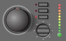 UI成套工具元素,放大器瘤和按钮 库存照片