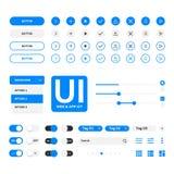 UI成套工具网&应用蓝色elementals模板,平的设计 免版税库存图片