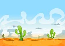 Ui比赛的无缝的西部沙漠风景 免版税库存图片