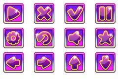Ui的传染媒介紫色方形的收藏集合玻璃按钮 向量例证