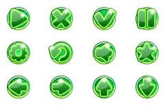 Ui的传染媒介绿色圈子收藏集合玻璃按钮 库存例证