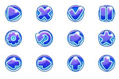 Ui的传染媒介蓝色圈子汇集集合玻璃按钮 库存例证