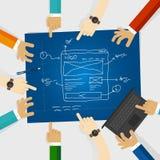 UI ή εργασία ενδιάμεσων με τον χρήστη και ομάδων σχεδίου εμπειρίας UX ή χρηστών για τον ιστοχώρο wireframe στην μπλε τυπωμένη ύλη διανυσματική απεικόνιση