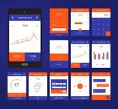 UI, σχεδιάγραμμα προτύπων UX και GUI για κινητό Apps Στοκ εικόνες με δικαίωμα ελεύθερης χρήσης