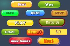 Buttons for mobile games detail ui stock illustration