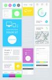 UI是以平的设计为特色的集合组分 免版税库存图片
