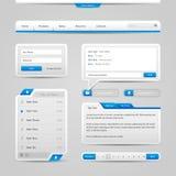 网UI控制元素灰色和蓝色在轻的背景:导航条,按钮,形式,滑子,信息框,菜单,选项,查寻 免版税库存图片