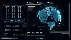 UI-användargränssnittmörker - blå bakgrund med pi för världskartagrafstång och HUD beståndsdel för det dar cyberteknologi och fut lager videofilmer
