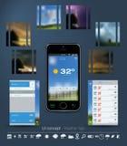 UI-begrepp för väder App Arkivbilder