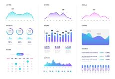 Ui dashboard. Modern infographic with gradient finance graphs, statistics chart and column diagrams. Analysis internet stock illustration