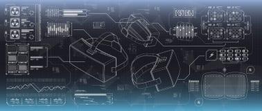 Ui de HUD para los vidrios de la realidad virtual Interfaz de usuario futurista para el app y el web La exhibición de la cabeza-p libre illustration