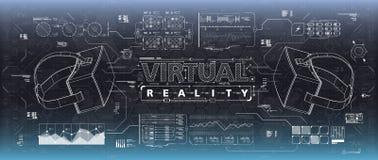 Ui de HUD para los vidrios de la realidad virtual Interfaz de usuario futurista para el app y el web La exhibición de la cabeza-p ilustración del vector
