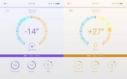 UI de page de temps pour l'APP mobile Calibre des dispositions d'hiver et d'été pour les apps mobiles Page de temps différent Photos stock