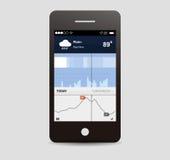 Ui del app del tiempo Fotografía de archivo libre de regalías