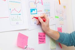 Ui designer drawing on paper structure of app. Interface stock images