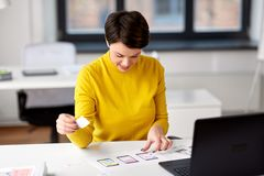 Ui designer working on user interface at office royalty free stock photo