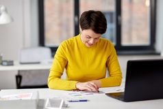 Ui designer working on user interface at office royalty free stock image
