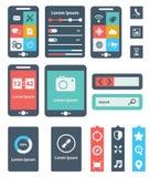 UI is een reeks mooie componenten die de vlakke ontwerptendens EPS10 kenmerken royalty-vrije illustratie