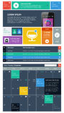 UI is vastgestelde componenten die het vlakke ontwerp kenmerken stock illustratie