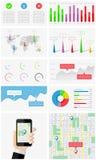 Ui, elementen van infographics en gebruikersinterface Stock Afbeeldingen