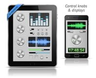 UI elements for tablets and smartphones. Control knobs and displays. EPS 10 vector illustration Royalty Free Stock Photo