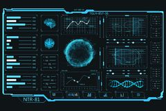 UI elements. Touch panel. Information graphics and data. Futuristic HUD interface. The interface on the dashboard of a spaceship. Infographics. UI elements vector illustration