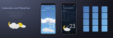 UI Elements, Weather and calendar Application User Interface Concept. Calendar 2018. stock illustration