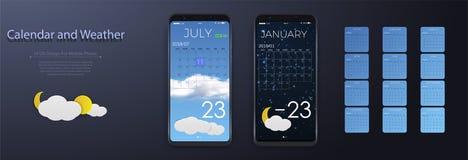 UI elementy, pogoda i kalendarza interfejsu użytkownika Podaniowy pojęcie, Kalendarz 2018 ilustracji