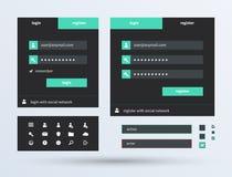 UI fijó la tendencia plana del diseño. Imágenes de archivo libres de regalías