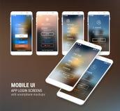 UI firmano dentro e firmano sugli schermi ed il corredo del modello di 3d Smartphone Fotografia Stock