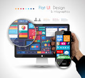 UI Flat Design Elements in a modern HD screen Stock Image