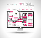 UI Flat Design Elements in a modern HD screen computer Stock Images