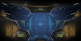 Ui futuristico di concetto per il casco Modello agile dell'esposizione Vista dal casco con gli elementi di HUD illustrazione di stock