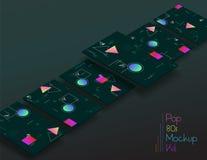UI geometrico astratto scherma i modelli 3d Immagine Stock Libera da Diritti