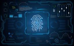 UI HUD-van de achtergrond veiligheidstechnologie van het interfacescherm het concepten innovatief malplaatjeontwerp Royalty-vrije Stock Fotografie
