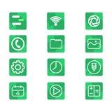 UI-Ikonenausrüstung mit grünem Formthema im weißen Hintergrund lizenzfreie abbildung