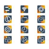 UI-Ikonenausrüstung mit orange Formthema vektor abbildung