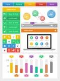 Элементы Ui, infographics и сеты включая плоский d Стоковое Фото