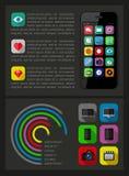 Элементы Ui, infographics и сети включая плоский d Стоковые Изображения