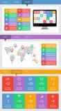 Ui, infographics en Webelementen met inbegrip van vlak ontwerp Stock Foto's