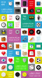 Ui, infographics en Webelementen met inbegrip van vlakke D Stock Fotografie