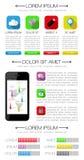 Ui, infographics en Webelementen met inbegrip van vlakke D Royalty-vrije Stock Foto